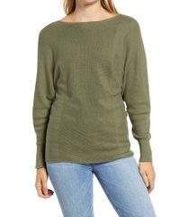 women's tommy bahama bonita boatneck ribbed cotton blend sweater, size x-large - green