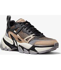 mk sneaker nick in pelle con logo - marrone (marrone) - michael kors