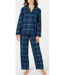 matching family pajamas women's black watch plaid flannel pajama set, created for macy's