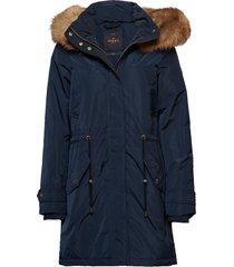 edith down jacket parka lange jas jas blauw morris
