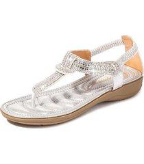 sandalias con cuentas de diamantes de imitación en forma de t mujer-plata