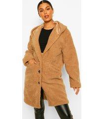 faux fur teddy jas met capuchon, camel