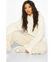 nepwollen oversized hoodie met omgeslagen mouwen, ivoor