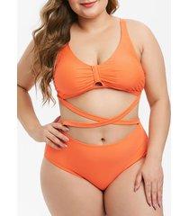 plus size crisscross high rise bikini swimsuit