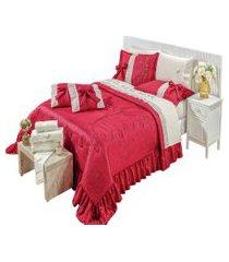 cobre leito colcha amore vermelho casal queen 7 peças seda