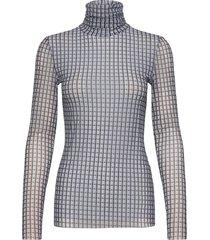 printed mesh t-shirts & tops long-sleeved blauw ganni