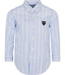 comme des garçons play light blue and blue striped shirt with heart