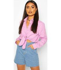 tie front western denim shirt, pink