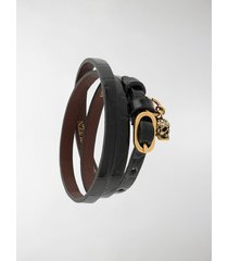 alexander mcqueen skull-charm wrap-around bracelet