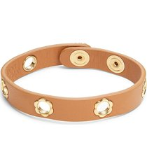 salvatore ferragamo women's studded leather & goldtone brass bracelet