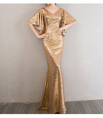 sexy golden bat sleeve maxi long sequin dresses fitted sequined cocktail dress