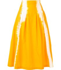 msgm tie-dye flared skirt - orange