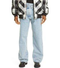 women's r13 crossover wide leg jeans, size 30 - blue