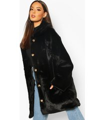 oversized collared faux fur coat, black