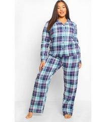 plus geborstelde geruite pyjama broek set, navy