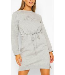 sweaterjurk met honey borduursel, grijs