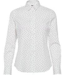 d1. french dot stretch broadcloth overhemd met lange mouwen wit gant