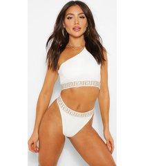 one shoulder geo tape bikini top, ivory
