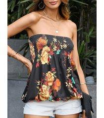 camisa sin tirantes con estampado floral aleatorio negro diseño sin tirantes