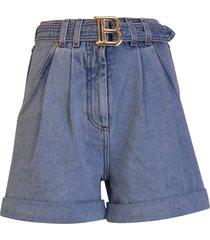 balmain denim high-waisted shorts with balmain buckle