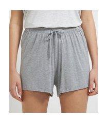 short de pijama em viscolycra com amarração na cintura   lov   cinza   gg