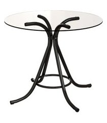 mesa de jantar redonda com tampo de vidro irvine incolor e preta 90 cm