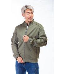 chaqueta verde para hombre cremallera frontal y bolsillos laterales
