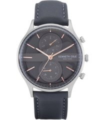 kenneth cole new york men's multifunction gray genuine leather strap watch 43mm