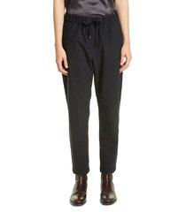 women's brunello cucinelli monili side stripe wool blend track pants, size 12 us / 48 it - black
