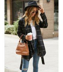 yoins black cuadros cinturón diseño abrigo con dobladillo asimétrico