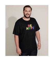 "camiseta masculina plus size pride be hype"" manga curta gola careca preta"""