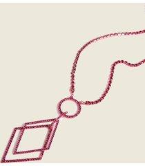 motivi collana lunga con pendenti geometrici donna rosa