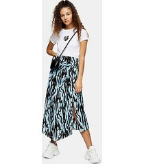 blue zebra print midi skirt - blue