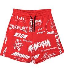 msgm red teen bermuda shorts
