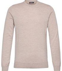 lyle merino crew neck sweater gebreide trui met ronde kraag beige j. lindeberg
