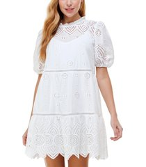 city studios juniors' embroidered bubble-sleeve dress