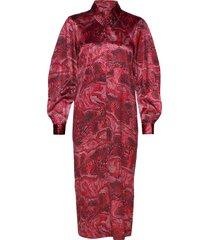 silk stretch satin jurk knielengte rood ganni