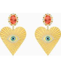 orecchini a clip lucky goddess heart, multicolore, placcato oro