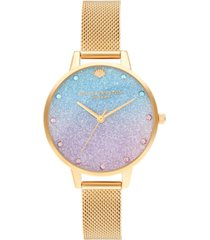 olivia burton women's under the sea gold-tone stainless steel mesh bracelet watch 34mm