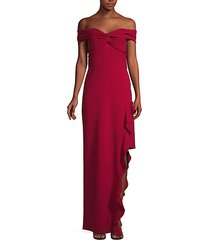 asymmetric ruffle off-the-shoulder gown