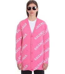 balenciaga cardigan in rose-pink wool