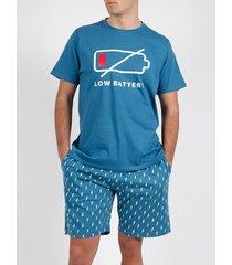 pyjama's / nachthemden admas for men pyjama kort t-shirt battery diver blauw admas