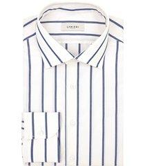 camicia da uomo su misura, albini, cotone popeline blu bianco, primavera estate | lanieri