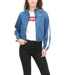 levi's women's striped-sleeve cropped bomber jacket