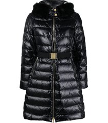 michael michael kors belted padded coat - black