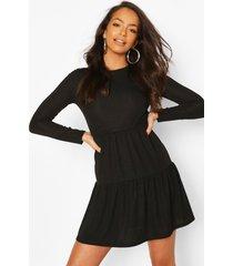 geribbelde gesmokte jurk met laagjes, black