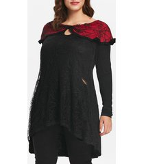 plus size halloween lace insert tunic keyhole top