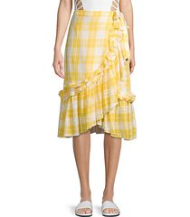 plaid ruffled cotton wrap skirt