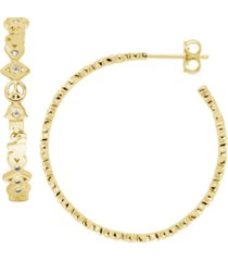good luck symbols c hoop earring with cubic zirconia accents gold plated