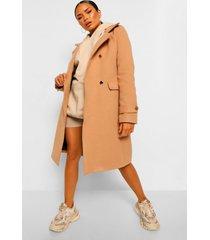 nepwollen jas met dubbele militaire knopen en ceintuur, camel